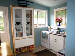 kitchen design ideas blue vintage glass pantry cabinet in nice kitchen remodel and design with l