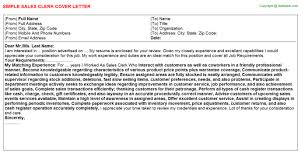 Clerk Job Title Sales Clerk Cover Letter