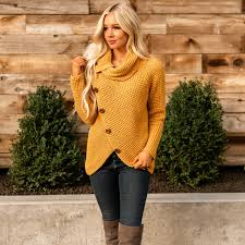 <b>Buttoned</b> Wrap <b>Turtleneck Sweater</b> | Jane