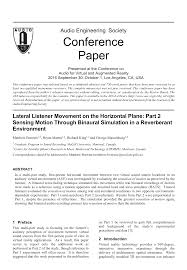aes e library lateral listener movement on the horizontal plane aes e library lateral listener movement on the horizontal plane part 2 sensing motion through binaural simulation in a reverberant environment