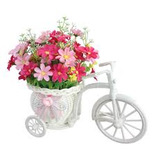 JAROWN Fake Daisy Artificial Flowers Nostalgic <b>Bicycle</b> with Ratten ...