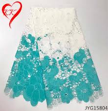 <b>Beautifical</b> Flower <b>African</b> Guipure <b>Lace Fabric White</b> And Blue High ...