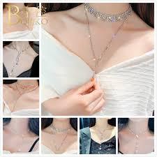 Wholesale <b>BOAKO</b> Bling <b>Rhinestone Necklace Women</b> Zircon ...