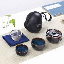 <b>Chinese Kung</b> Fu Tea <b>Set</b> Ceramic Portable Teapot <b>Set</b> Outdoor ...