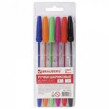 """Ручки шариковые <b>BRAUBERG</b>, <b>НАБОР</b> 6 шт., АССОРТИ, """"Line ..."""