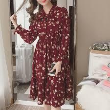 Korean Chiffon <b>Women Dress Elegant Ladies Vintage</b> Long <b>Dress</b> ...