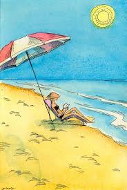 Image result for sitting on the beach reading a book with a cool drink
