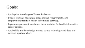 health informatics employability skills goals apply prior 2 goals apply prior knowledge of career