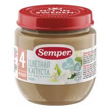 <b>Пюре Semper</b> (<b>Семпер</b>) <b>Цветная капуста</b>, с 4 мес., 125 гр. (12 шт ...