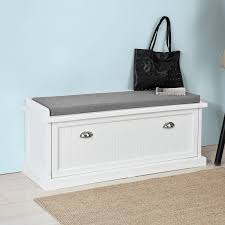 White <b>Storage</b> Bench with Removable Seat <b>Cushion</b>, Bench with ...