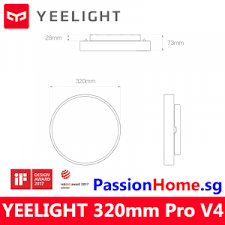 <b>Yeelight</b> LED Ceiling Light <b>320mm</b> Pro V4 - Luna 23W - 1500 ...