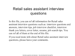 retail  s assistant interview questions