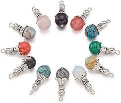 Kissitty <b>1 Box 20pcs</b> Natural Heart Shape Gemstone Pendants with ...