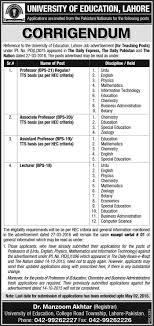jobs at ue corrigendum for teaching posts advertised on 27 03 2016