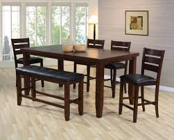 Dining Room Table With Benches Real Wood Kitchen Table Classic Solid Brown Glossy Wooden Kitchen