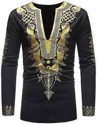 MODOQO Men's Long Sleeve V-Neck African Shirt ... - Amazon.com