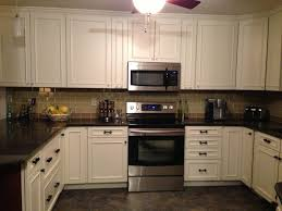 Backsplash Kitchen Tile Gray White Tone Slate Tiles With Ivory Color Themed Cabinet