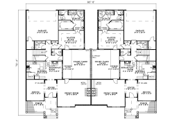 Country Creek Duplex Home Plan D    House Plans and MoreMulti Family House Plan First Floor   D    House Plans and More