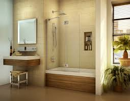 sliding bathroom mirror:  brown white bath up with sliding glass door also shelf placed on the cream wall plus