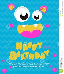 happy birthday invitation card template of happy birthday card monster party card invitation design happy birthday template vector