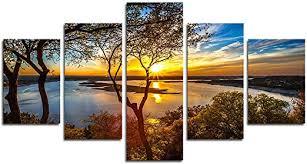 AtfArt Print Painting Canvas, 5 Pieces Sunset Canvas ... - Amazon.com