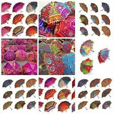 <b>50PC</b> Indian <b>Wedding</b> Umbrellas Decorative Embroidery Handmade ...