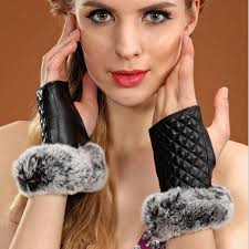 QIUSIDUN Winter womens fur gloves warm <b>genuine leather semi</b> ...