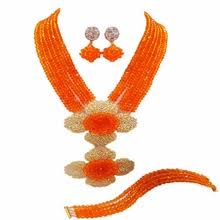 <b>african orange</b> beads jewelry set