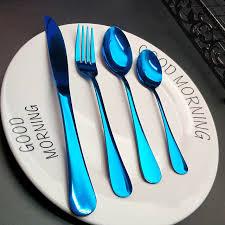Online Shop Hot Sale <b>4pcs</b> Blue <b>Dinnerware</b> Kitchen Stainless steel ...