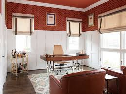 chadbourne transitional study room idea in dallas with red walls dark hardwood floors and a freestanding beautiful home office beautiful home office view
