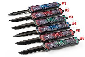 <b>New</b> Fire Dragon <b>Pattern</b> Handle Auto Tactical Knife 440C Steel 6 ...