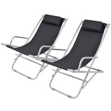 vidaXL <b>Reclining Deck Chairs 2</b> pcs Steel Black– House of Isabella ...