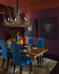 interior cool blue accents of elegant dining room which is furnished with oak dining table amazing dark oak dining