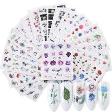 24 шт цветочные акварели <b>ногтей наклейки</b> набор Фламинго ...