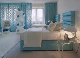 room cute blue ideas: charming girls room with white wall paint ideas plus blue window curtains feat cute table lamp