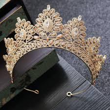 <b>Baroque Bride Crown Headwear</b> Fashion Golden Crown Bridal ...
