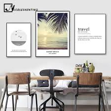 Scandinavian Style <b>Landscape</b> Wall Art Canvas Poster <b>Quotes Sea</b> ...