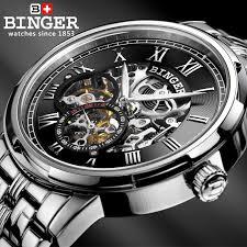 Mechanical <b>Luxury Skeleton</b> Watches BINGER <b>Automatic Watch</b> ...