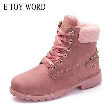 <b>E TOY WORD</b> New Pink <b>Women</b> Boots Lace Up Solid Casual Ankle ...