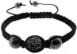 BodyJ4You Disco Ball Bracelet <b>Black</b> Single <b>Bead</b> Pave Crystals ...