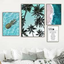 Pineapple Palm Tree <b>Blue Sea</b> Beach Quote Canvas <b>Nordic Posters</b> ...