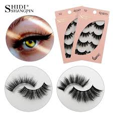 <b>SHIDISHANGPIN</b> Eyelashes <b>4 Pairs</b> Natural 3D <b>Mink</b> Lashes ...