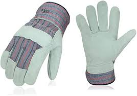 Vgo 3-Pairs Cow <b>Split Leather Men's</b> Work Gloves with Safety Cuff ...