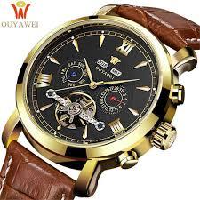 <b>OUYAWEI Skeleton</b> Mechanical Watch Luxury Men Black <b>Tourbillon</b> ...