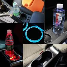 <b>1PC</b> Car LED Luminous Water Coaster Colorful Water Cup Light ...