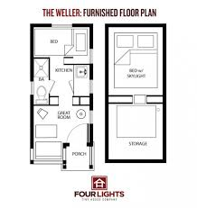 The Weller Tiny House  Sq  Ft  Gabled CabinWeller Tiny House Floor Plan