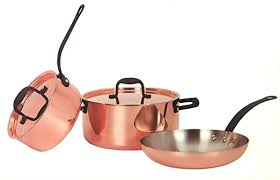 <b>Copper</b> Saucepan Set <b>2x</b> Saucepans <b>1x</b> Frying Pan <b>2x</b> Cover ...