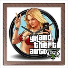 Часы квадратные из пластика (под дерево) <b>Grand Theft</b> Auto V ...