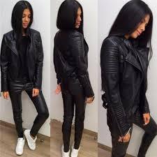 Ladies <b>Leather</b> Jackets New Black Slim Moto Bikers Jacket <b>Women</b> ...