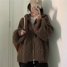 Women <b>Autumn Winter</b> Twist Zipper Hooded Sweater Coat Knitted ...